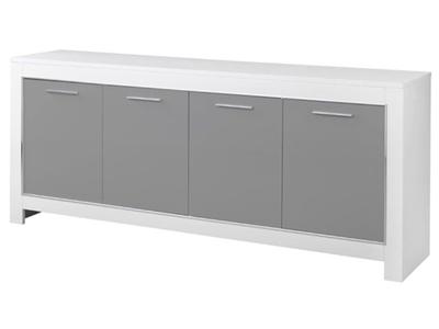 Bahut 4 portes Modena laquée blanc/grise