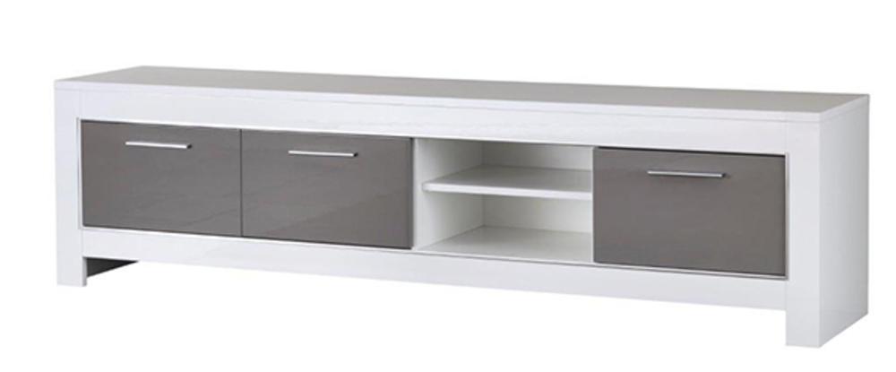 Meuble tv gm modena laqu e blanc grise - Meuble tv grande longueur ...