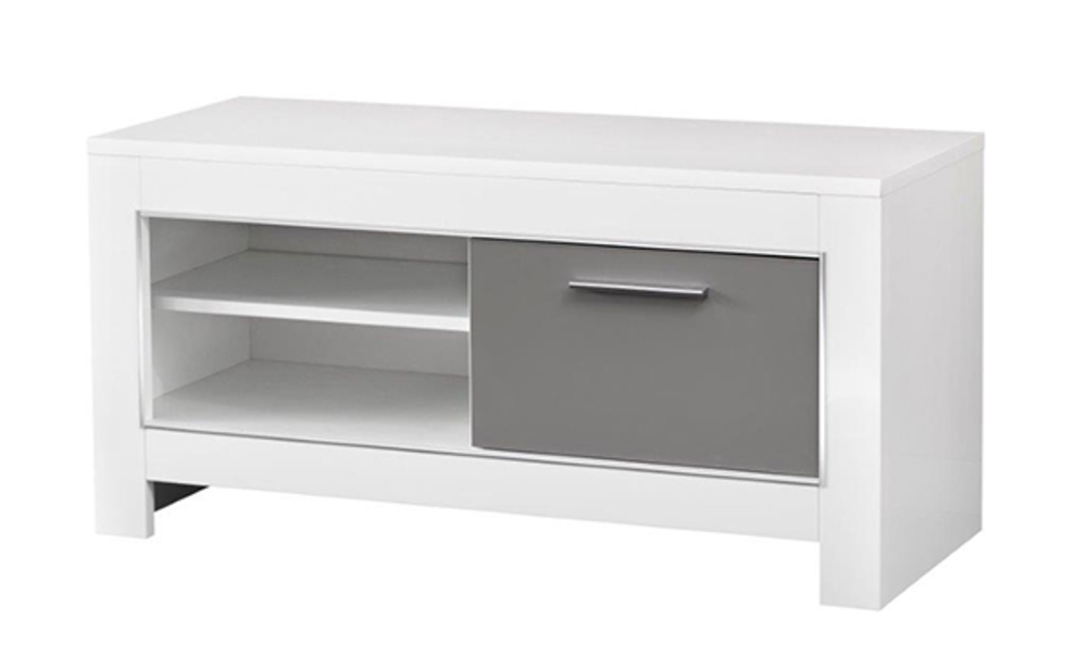 Meuble tv pm modena laqu e blanc grise for Meuble tv 120 cm blanc