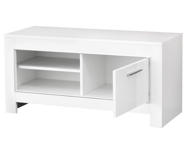 Meuble tv pm modena laqu e blanc grise for Petit meuble hifi