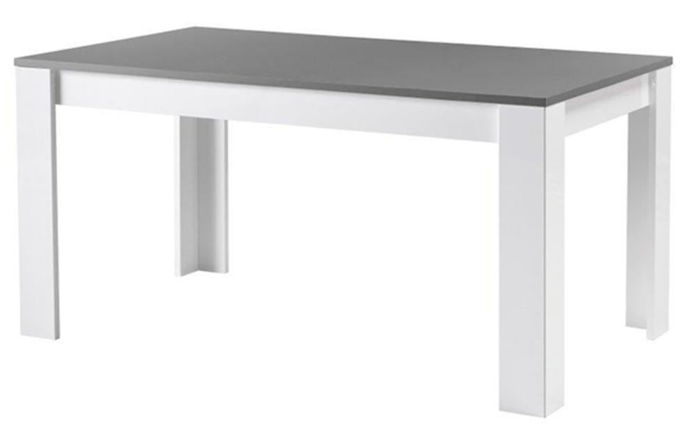 table de repas modena laquée blanc/grisel 190 x h 77 x p 90