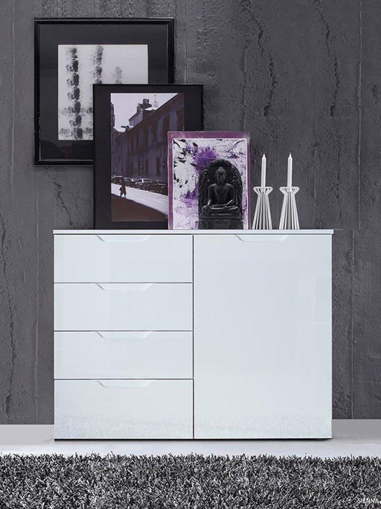 Commode 1 porte et 4 tiroirs sienna blanc brillant for Meuble a plusieurs tiroirs