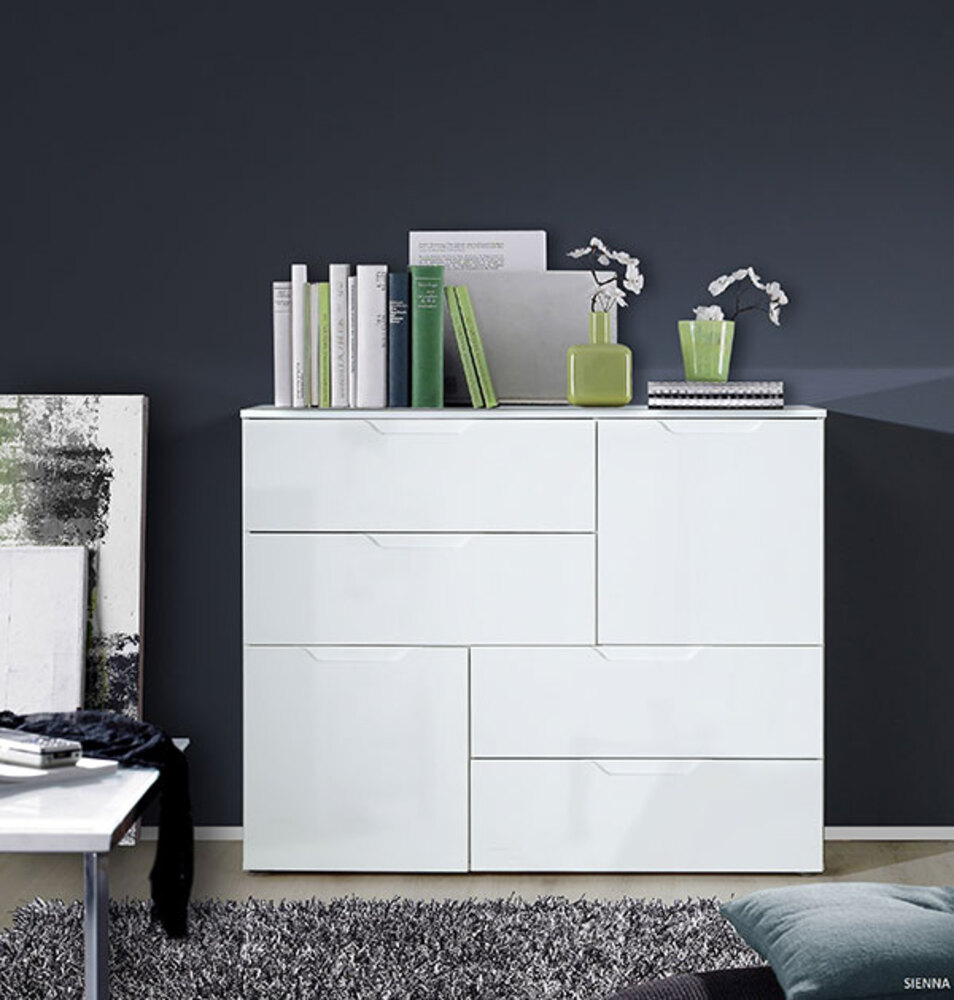 Commode 2 portes et 4 tiroirs pm sienna blanc brillant for Meuble a plusieurs tiroirs