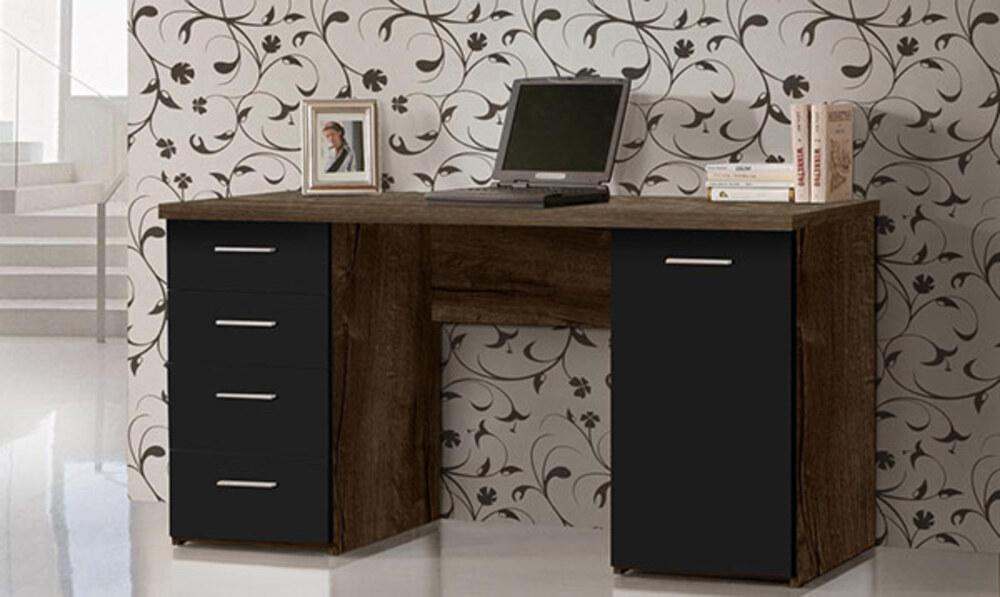 Bureau 1 porte et 4 tiroirs abro 2 chene marron noir mat for Meuble bureau 2 portes