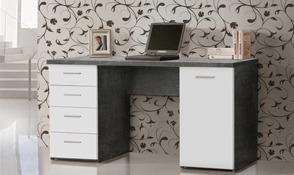 Bureau 1 porte 4 tiroirs johan b ton blanc mat for Meuble bureau a tiroirs