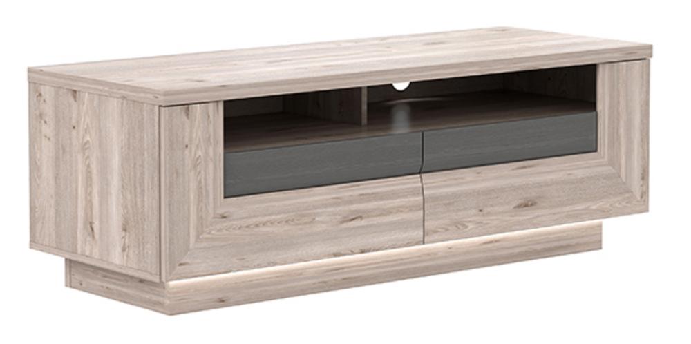 Meuble tv 2 tiroirs stairs chene cendre gris - Meuble tv gris cendre ...