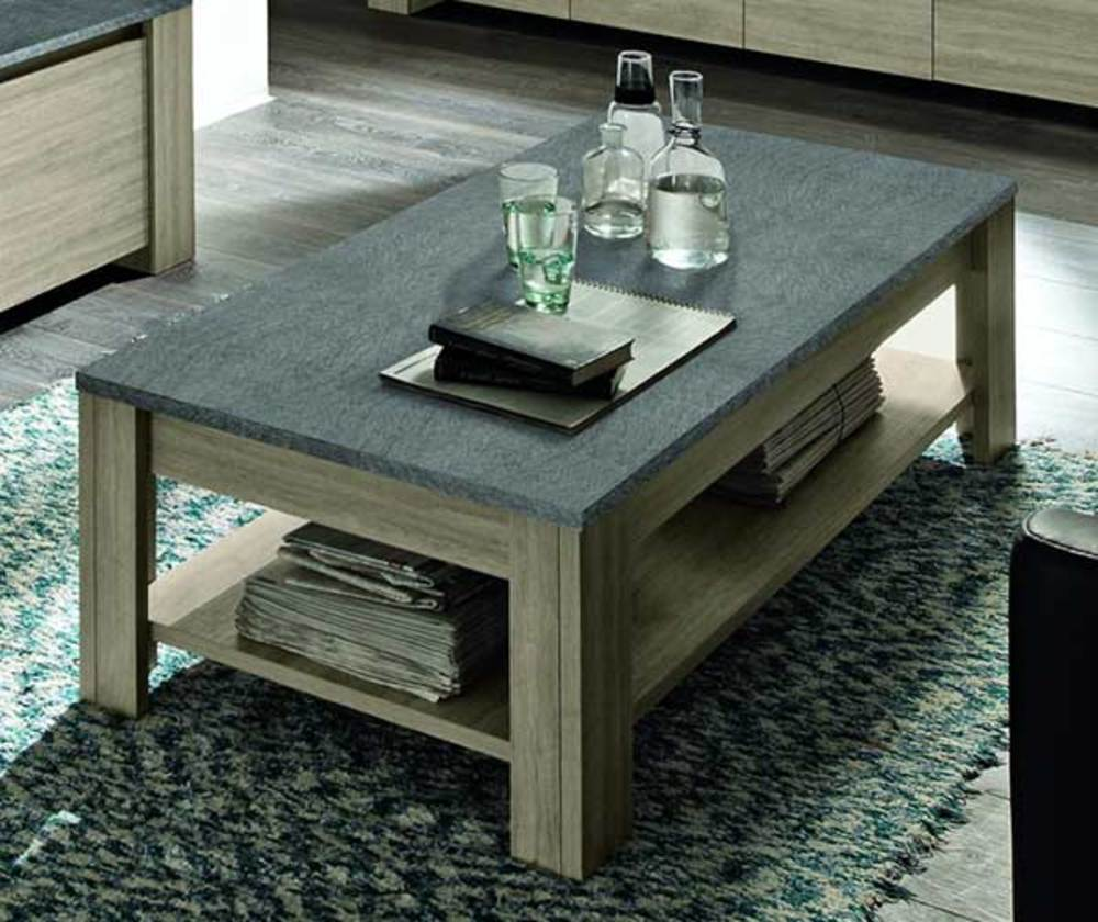 Table basse double plateau elba chene gris - Table pliante rectangulaire double plateaux ...