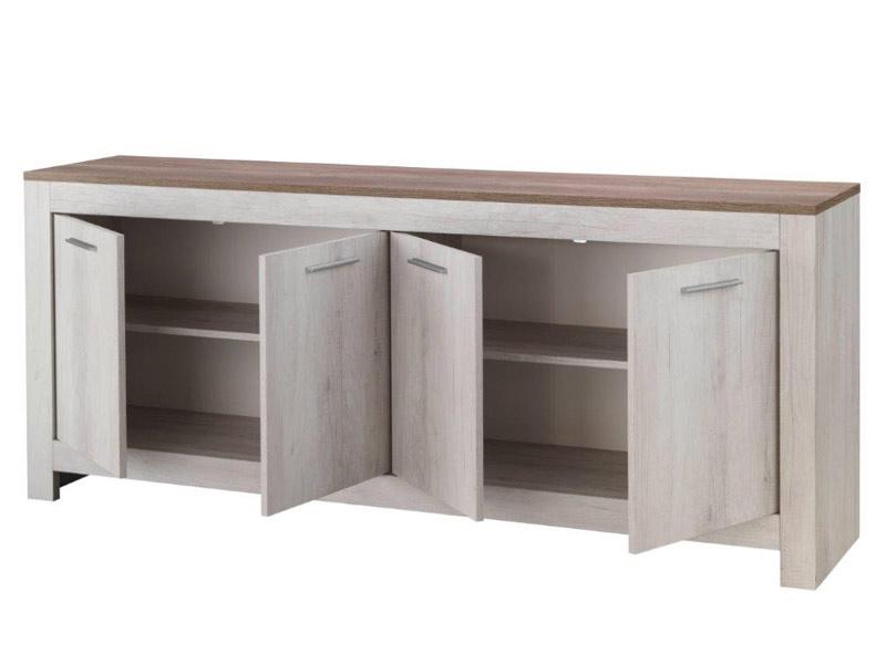 bahut 4 portes padova chene blanchi chene brun. Black Bedroom Furniture Sets. Home Design Ideas