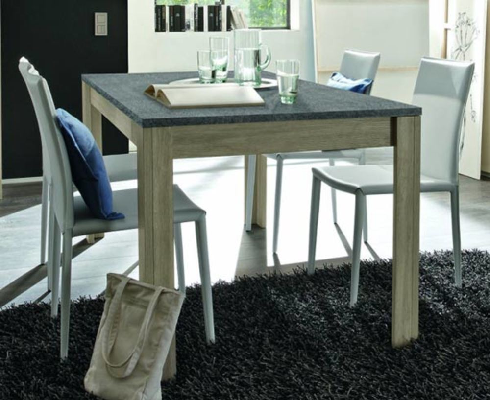 table de repas avec plateau en ardoise elba chene gris ardoise l 180 x h 79 x p 90. Black Bedroom Furniture Sets. Home Design Ideas