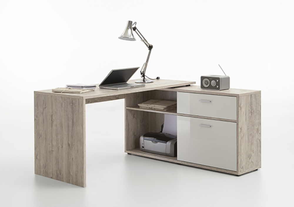 Bureau dangle diego chene blanc brillant