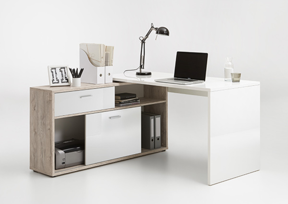 Bureau d 39 angle diego up chene blanc brillant for Bureau en angle