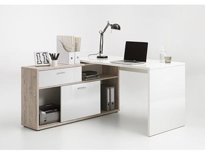 Bureau d 39 angle diego up chene blanc brillant for Bureau meuble d angle