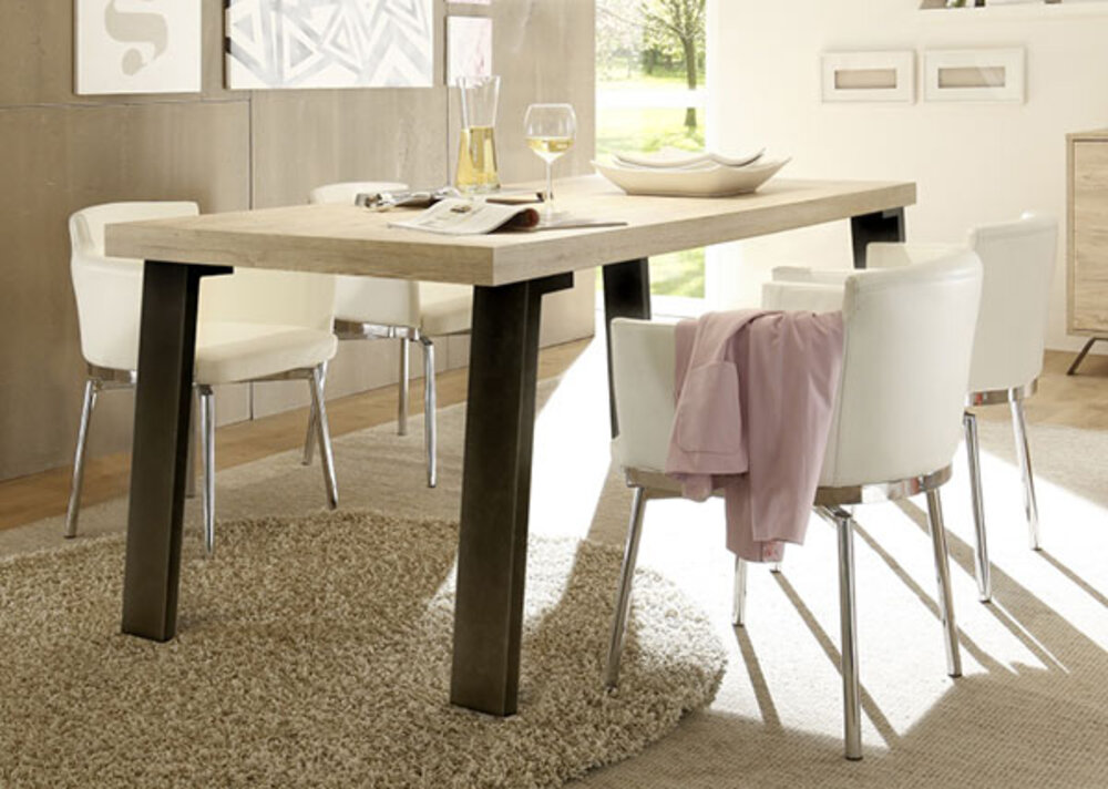 table de repas avec pi tement m tal palma goa ch ne blond l 165 x h 79 x p 88. Black Bedroom Furniture Sets. Home Design Ideas