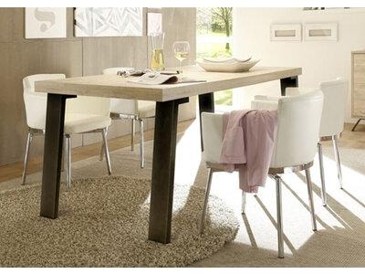 Table de repas avec piètement métal Goa chene blond