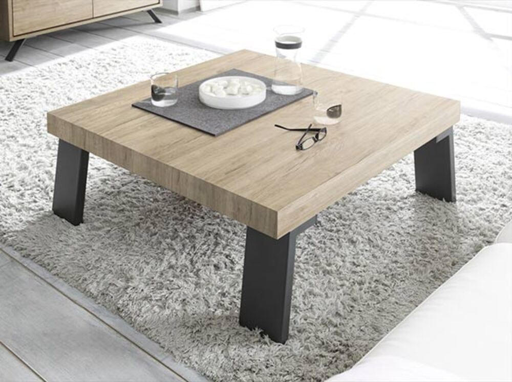 table basse avec pi tement m tal palma goa ch ne blond. Black Bedroom Furniture Sets. Home Design Ideas