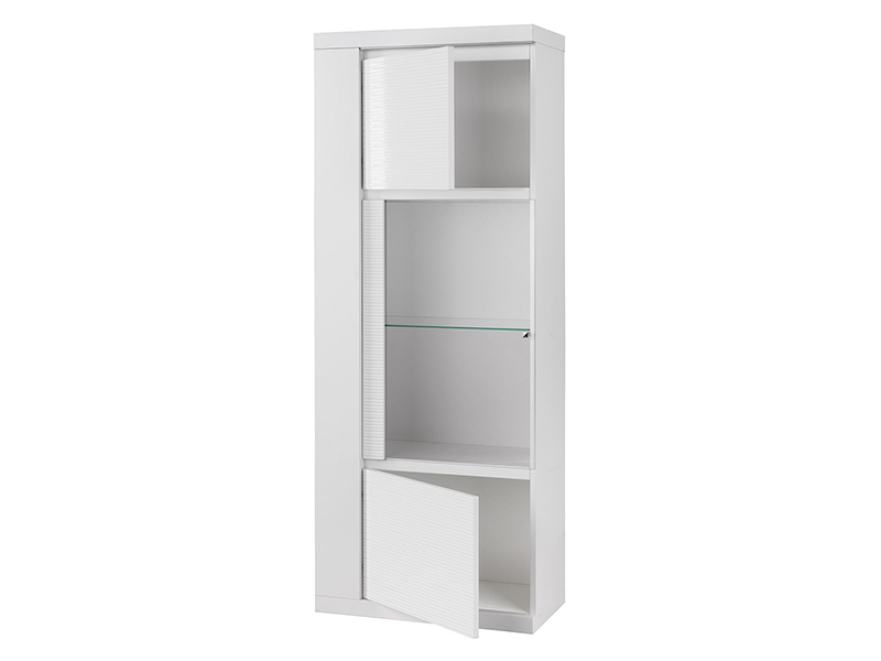vitrine 1 porte droite venezia blanc brillant. Black Bedroom Furniture Sets. Home Design Ideas