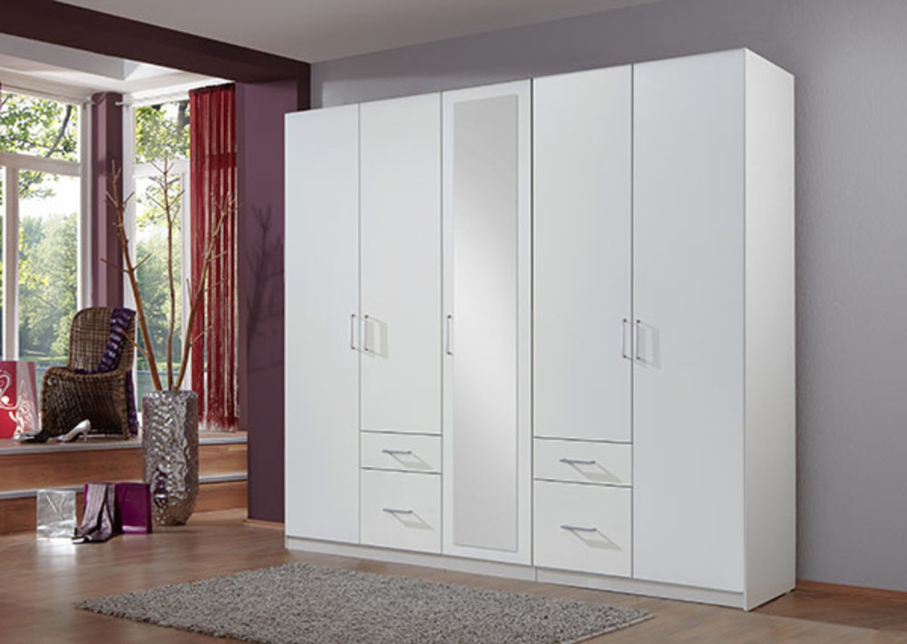 armoire 5 portes 4 tiroirs fly blanc. Black Bedroom Furniture Sets. Home Design Ideas
