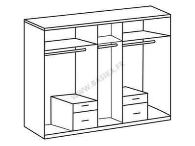 Armoire 5 portes 4 tiroirs Fly