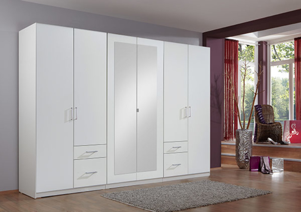 Armoire 6 portes 4 tiroirs fly blanc for Armoire moderne chambre