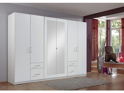 armoire 6 portes 4 tiroirs fly blanc. Black Bedroom Furniture Sets. Home Design Ideas