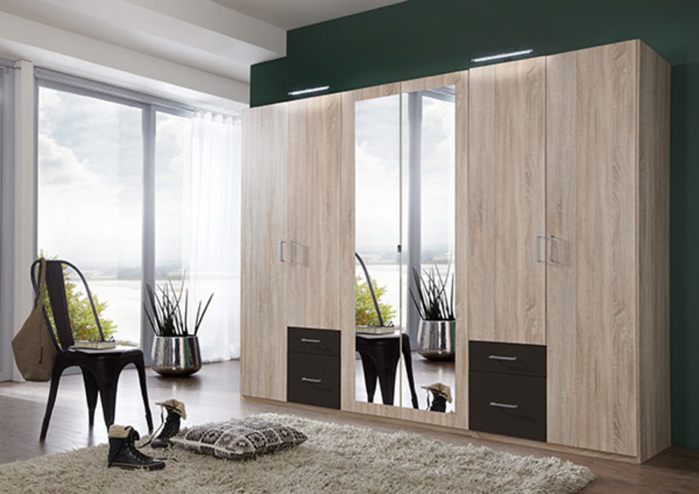 Armoire 6 portes 4 tiroirs fly chene lave for Armoire portes coulissantes fly