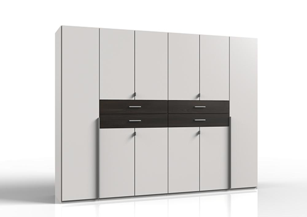 armoire 8 portes 2 tiroirs diver blanc gris anthracite. Black Bedroom Furniture Sets. Home Design Ideas