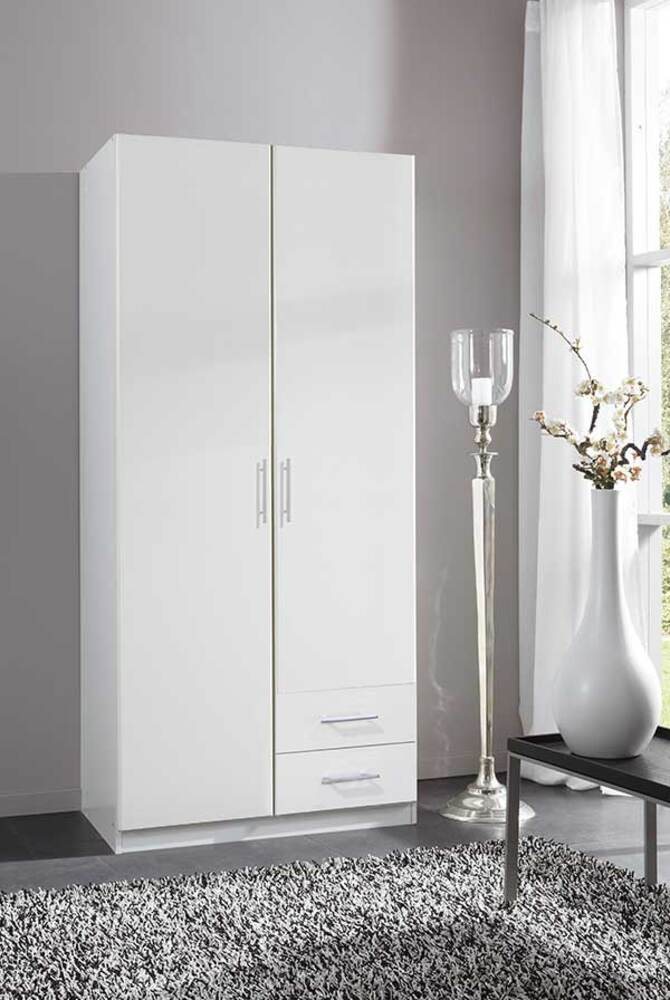 armoire 2 portes 2 tiroirs spectral blanc. Black Bedroom Furniture Sets. Home Design Ideas