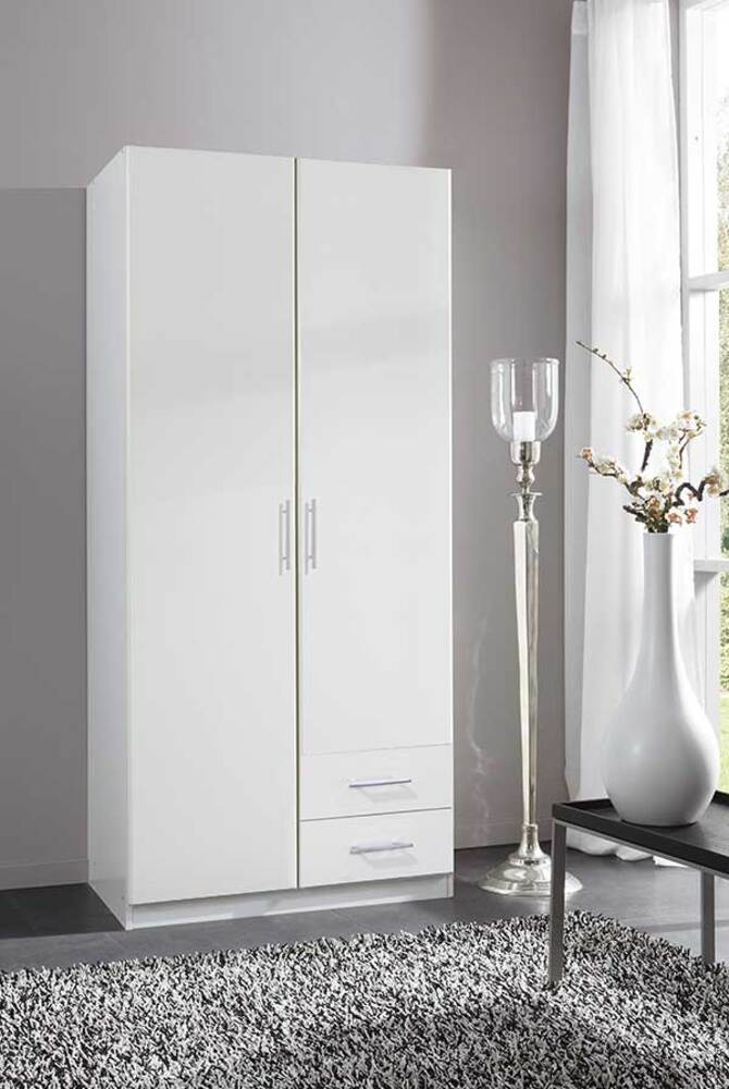 Armoire 2 portes dont 1 miroir 2 tiroirs spectral blanc - Armoire a chaussures fly ...