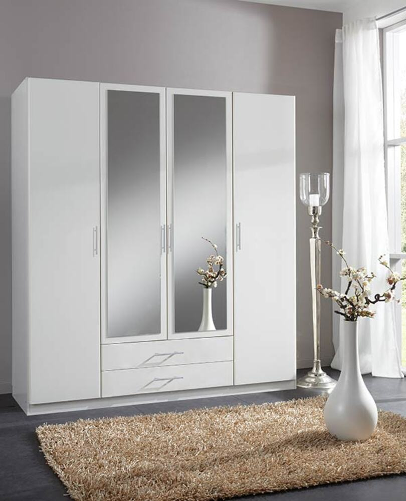 Armoire 4 Portes Dont 2 Miroirs 2 Tiroirs Spectral Blanc