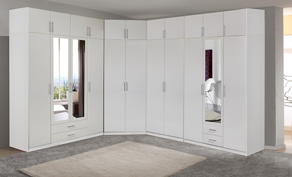 armoire 4 portes dont 2 miroirs 2 tiroirs spectral blanc. Black Bedroom Furniture Sets. Home Design Ideas