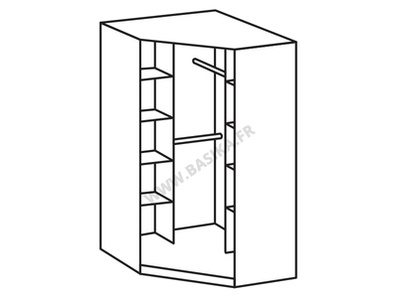 Armoire d'angle 2 portes miroir Spectral