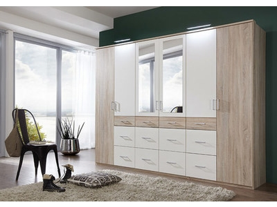 Armoire 6 portes dont 2 miroirs 12 tiroirs Click 2