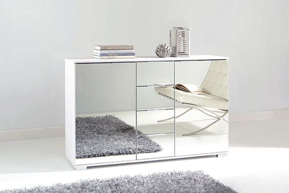commode 2 portes 4 tiroirs easy plus c blanc miroir. Black Bedroom Furniture Sets. Home Design Ideas