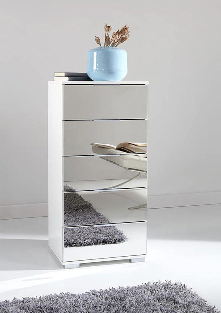 chiffonnier 5 tiroirs easy plus c blanc miroir. Black Bedroom Furniture Sets. Home Design Ideas