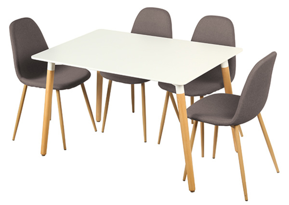 Table 4 chaises otis blanc chene for Table de cuisine kreabel
