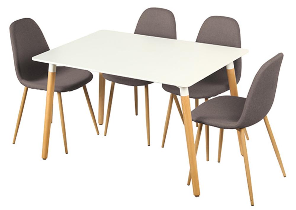 Table 4 chaises otis blanc chene for Table chaises cuisine saint paul