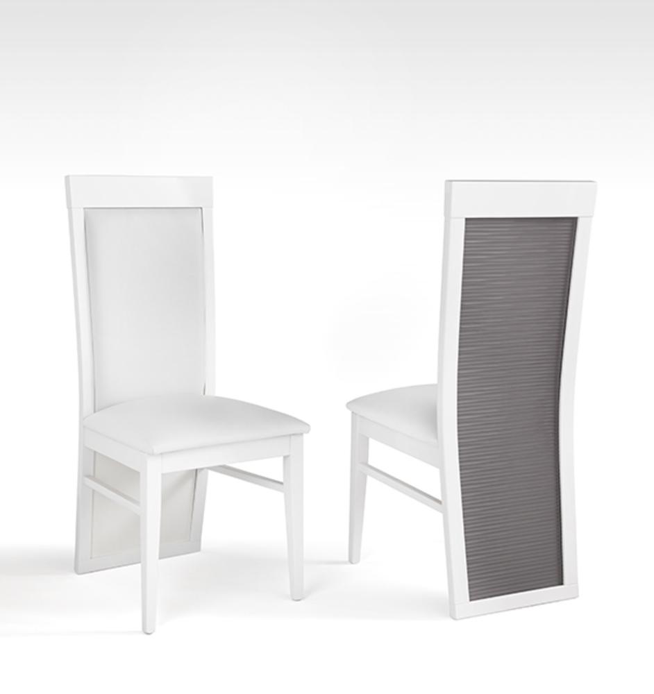 Chaise venezia laqu e blanc grise blanc gris brillant for Chaise salle a manger grise design