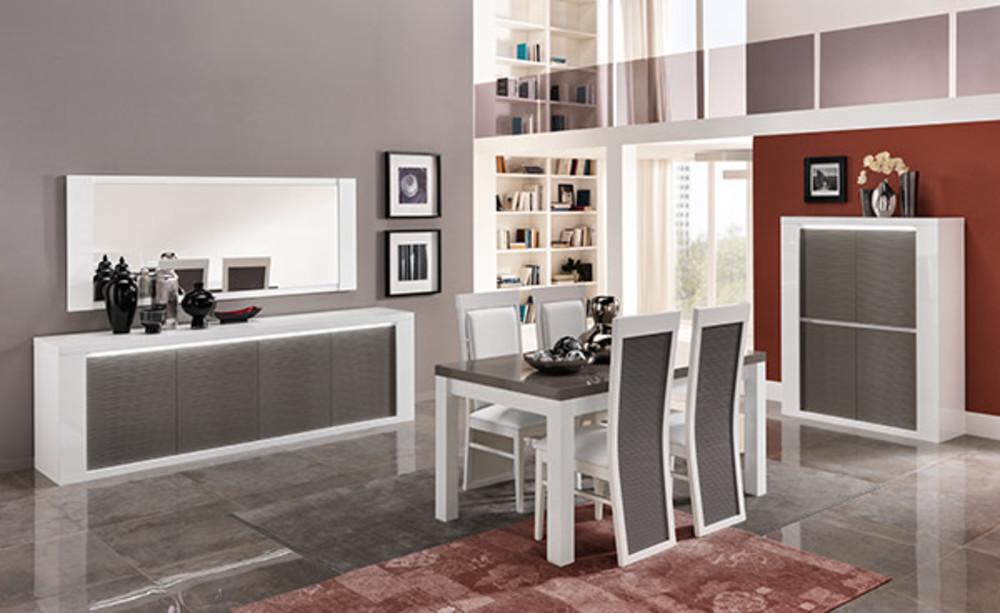 Chaise venezia laquee blanc grise blanc gris brillant for Meuble salle À manger avec chaise grise et blanche