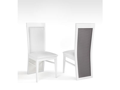 Chaise Venezia laquee blanc/grise