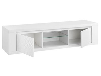 Meuble tv plasma Venezia laquée blanc/grise