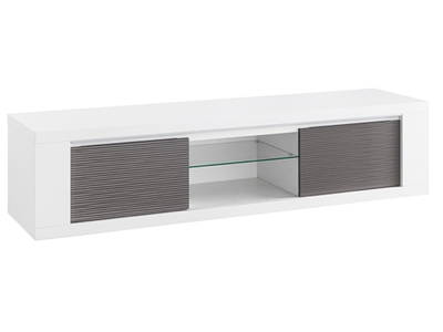 Meuble tv plasma Venezia laquee blanc/grise