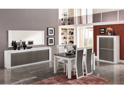 Miroir Venezia laquée blanc/grise