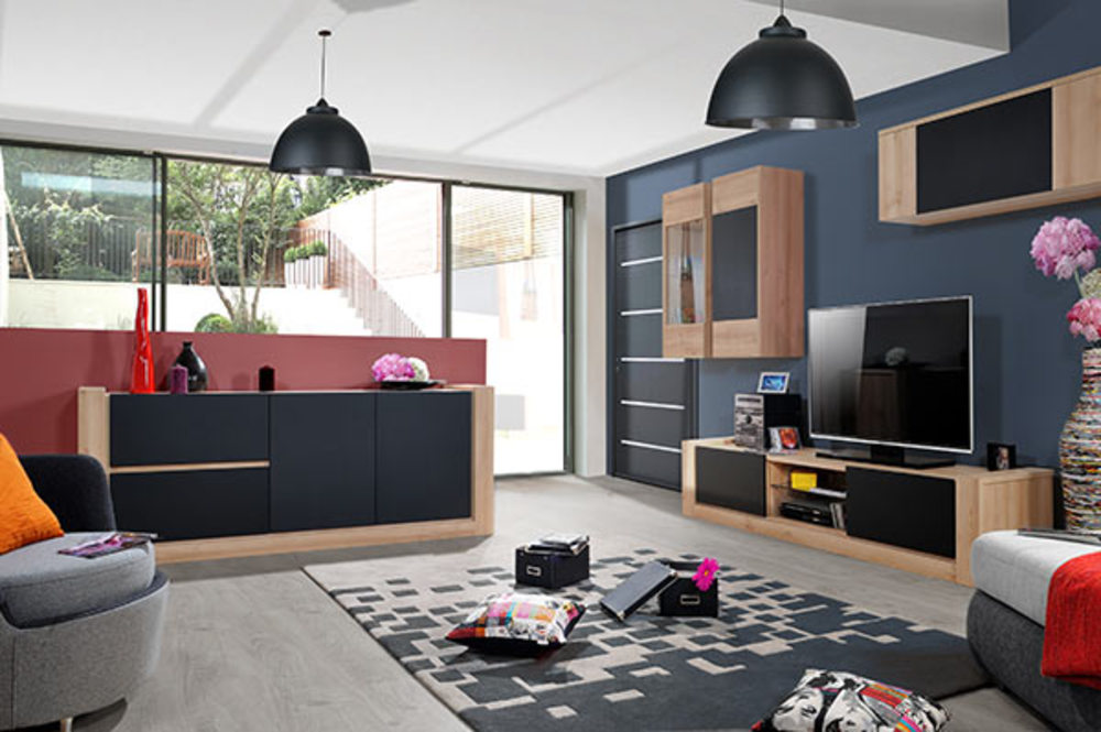 meuble tv norden chene ardoise mat. Black Bedroom Furniture Sets. Home Design Ideas