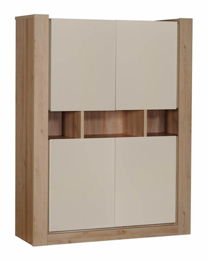 Rangement 4 portes norden chene blanc mat for Meuble rangement sejour