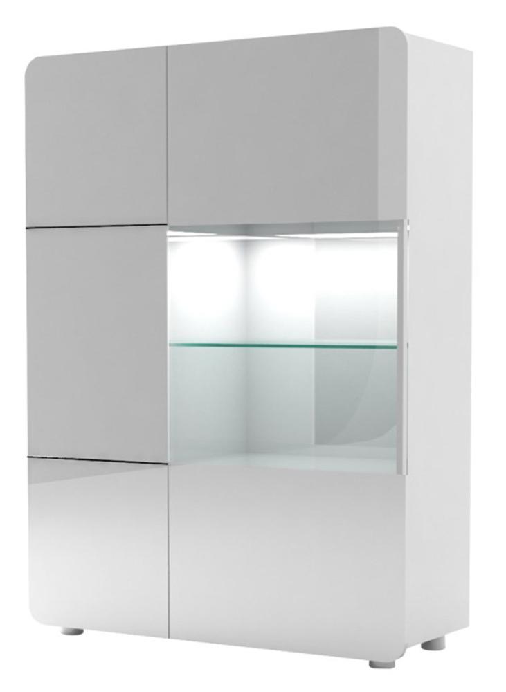 Rangement 2 portes bump laqu blanc blanc brillant for Meuble vitrine une porte