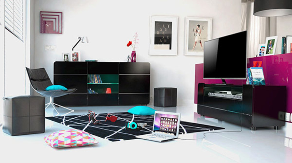 meuble tv bump laqu noir noir brillant. Black Bedroom Furniture Sets. Home Design Ideas