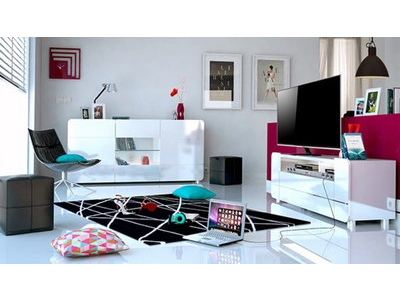 Meuble tv avec niches Bump laque blanc