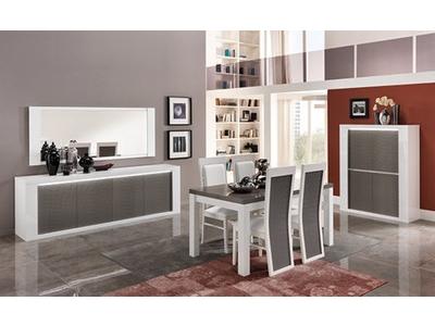 Table de repas Venezia laquee blanc/grise