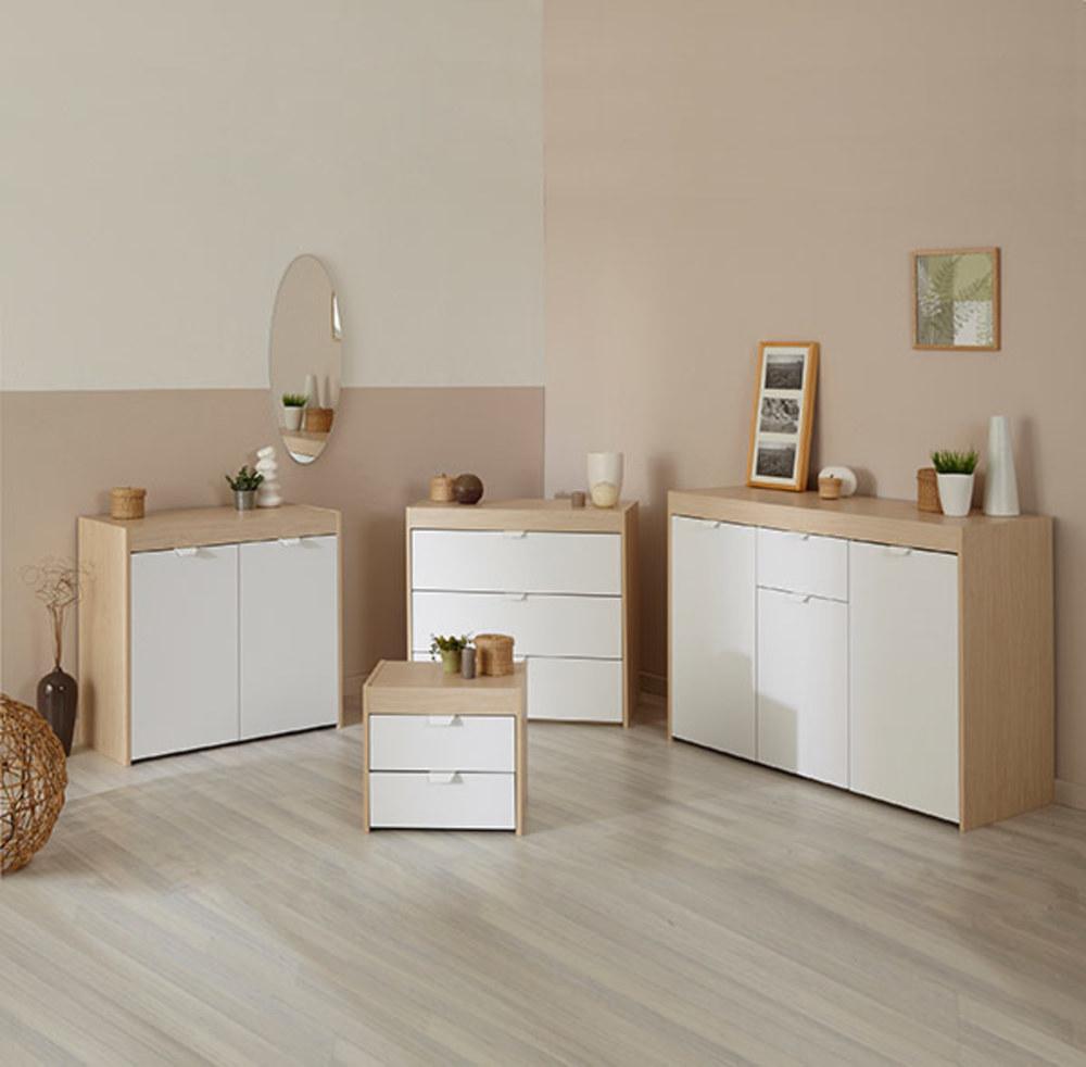 bahut 3 portes 1 tiroir paperfly erable blanc mat. Black Bedroom Furniture Sets. Home Design Ideas