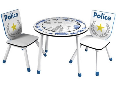 Set table+2 chaises Police